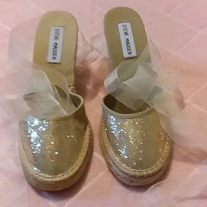 Sparkly gold wedge espadrilles